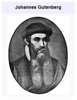 Johannes Gutenberg né 1400
