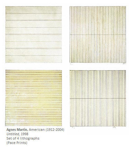 Agnes Martin Untitled 4 Lithographs