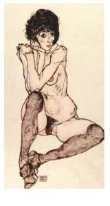 Egon Schiele Sitting Female Nude