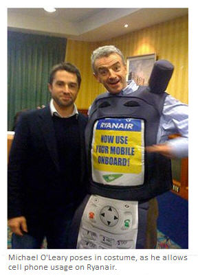 Ryanair Chief O'Leary poses as a cell phone