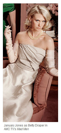 January Jones in pearls, gloves, with cigarette in hand - 60s glam