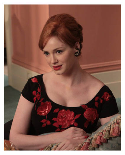 Christina Hendricks as Joan Holloway Harris plays her role of 60s wife impeccably, the gracious hostess and stoic supporter to a weaker husband.