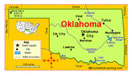 Map and Facts about OK from Enchanted Learning dot com