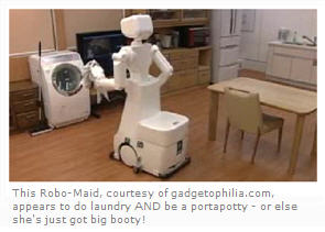 Robo-maid courtesy of gadgetophilia dot com does laundry and more!