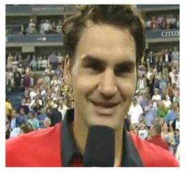 Roger Federer being interviewed following his impressive US Open semi-final win..
