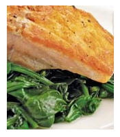 Scrumptious seared salmon and steamed spinach