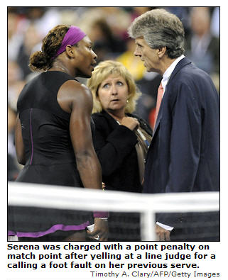 Serena Williams disqualified at US Open Tennis 2009.