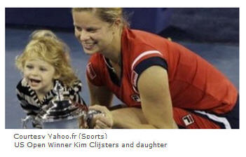US Open 2009 Women's Champion Kim Clijsters with her daughter.