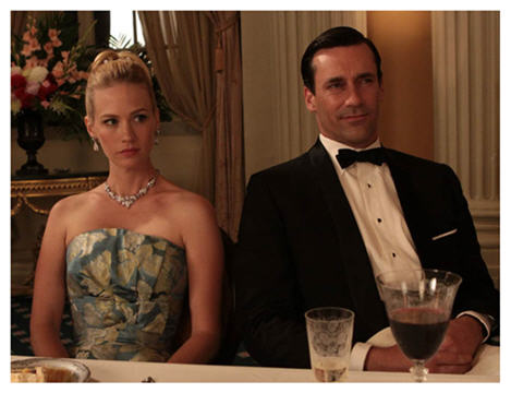January Jones and Jon Hamm in Mad Men as Betty and Don Draper the perfect couple