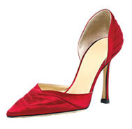 Jimmy Choo red satin pump coutesy InStyle dot com