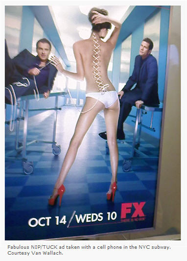 NIP TUCK ad in NYC subway courtesy Van Wallach
