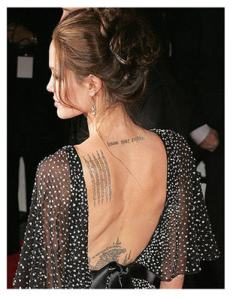 Tats tats tats: Angelina Jolie is another celeb who loves her ink.
