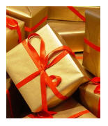 Creating a sense of festivity with gifts and gift wrapping, whatever is actually inside.