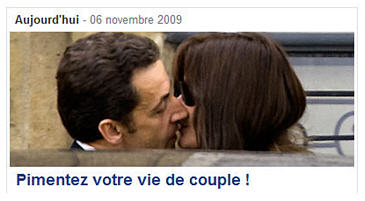 Prez Sarkozy and his missus show how to spice up your love life courtesy yahoo dot fr